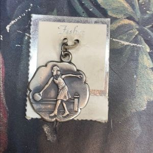 Fisher Silver 'Lady Bowler' Charm NWT